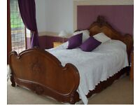 French Style Antique King Size Wooden Bed Frame