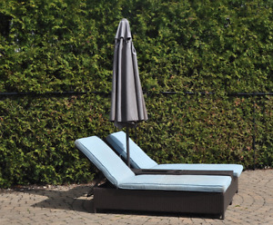 Dual Expresso Wicker Chaise Lounge