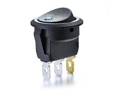 5pcs Dc 12v Car Dot Auto Boat Round Rocker Blue Led Light Spst Switch On-off