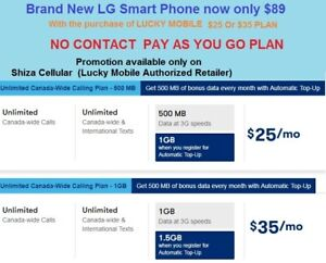 New LG Smart Cellphone $89 ►With  purchase of LUCKY MOBILE $25 O