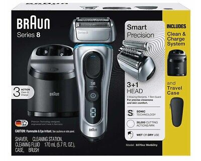 2019 Braun 8370cc Series 8 Wet & Dry Electric Shaver Travel Case & Charge System