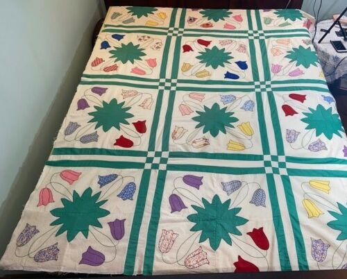 """Quilt Top Project Machine & Hand Quilted Tulip 90x67"""" Ready To Be Finished"""