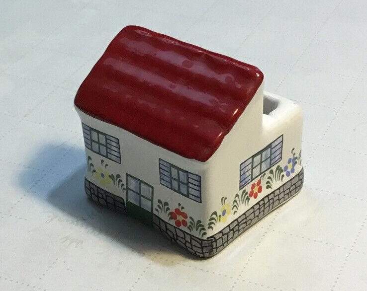 Vintage Tiny House Ceramic Toothpick Holder Portugal