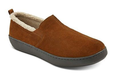 Men's Carson Walnut Suede Fleece-Lined Indoor-Outdoor Moccasin Slippers  sz 11