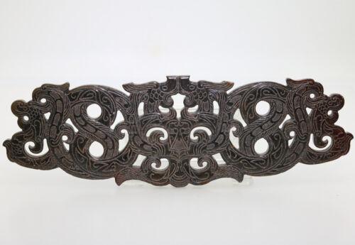 collected hand-carved HeTian jade pendant openwork twining dragon phoenix D436