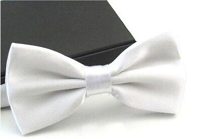 New Tuxedo PreTied White Bow Tie Satin Matching Adjustable Band  US SELLER White Satin Bow Tie