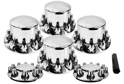 Chrome Semi Truck Hub Cover Wheel Kit Axle Cover 33mm Lug Front & Rear Complete Complete Hub Axle