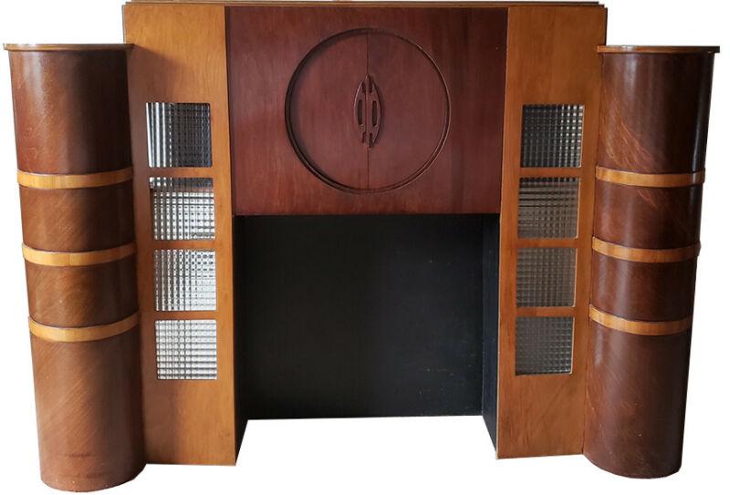 1930s Art Deco Streamline Two-tone Fireplace Mantel - RARE! LIMITED SHIP AVAIL