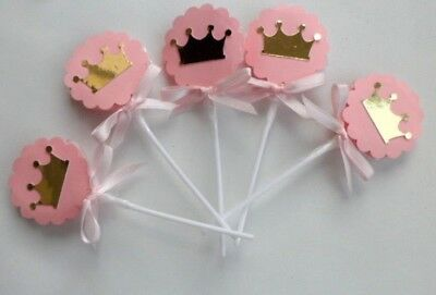 Pink and Gold lollipops Royal Princess, Party favors, Birthday Party  SET OF 10 - Royal Princess Birthday Party