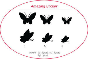 Upto 84 Mixed Butterfly Art Wall Stickers, Car Decals,Children Kids Stickers,