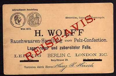 74189 AK Helsinki Helsingfors 1897 Reise Avis Rauchwaaren Handlung Berlin H. Wol