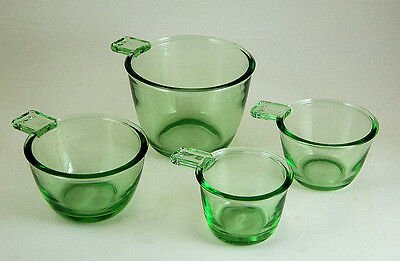 GREEN GLASS NESTING MEASURING CUPS SET OF 4 - SHIPS FREE