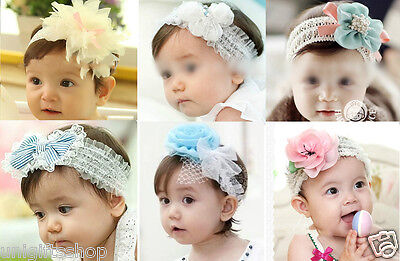 12-Piece Flower Baby Headbands / Hair Clips Mixed Color for
