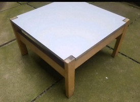 LOW White Top WOOD Wooden COFFEE TABLE - CARD TABLE