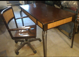 Pier 1- Antique looking desk and rolling chair.