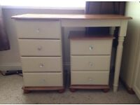 Ivory and wood dressing table with crystal nobs