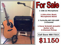Yorkville Amp/Oscar Schmidt Acoustic Guitar/Microphone/Stand