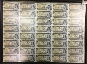 1973 BANK OF CANADA $1 DOLLAR BILL, UNCUT SHEET 40 BILLS $299.99