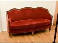 Vintage, antique, retro, wedding curved stylish sofa with wood edge & studding