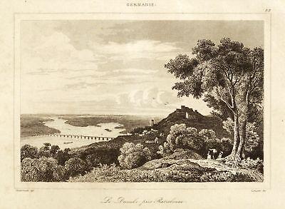REGENSBURG - GESAMTANSICHT IM DONAUTAL - Lemaitre - Stahlstich 1838