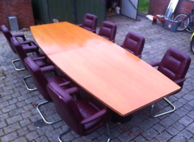 Board Room Table with 12 Leather Chairs