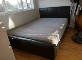 Leather Double bed + mattress (delivery available