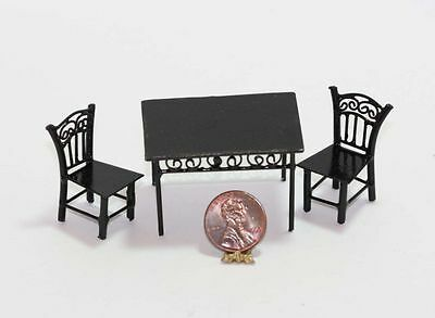 Dollhouse Miniature 1:24 Scale Black Wire Outdoor Table and 2 Chairs Set
