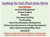 Seeking Full-/Part-time Work-Office/Account/Project Support