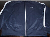Fred Perry Mens Track Top Jacket Dark Blue - Size Medium