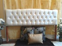 Stunning Leather!  Ivory White Leather QUEEN Head Board