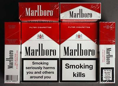 Marlboro Red Cigarettes Collectible 5 Packets Made In Switzerland