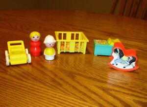 Fisher-Price Vintage Miniature Nursery, Mother and Baby