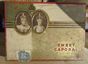 VINTAGE 1937's SWEET CAPORAL TOBACCO FLAT FIFTIES TIN