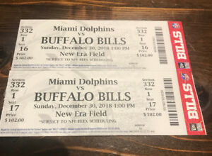 Buffalo Bills vs Miami Dolphins Sunday Dec 30 at 1pm