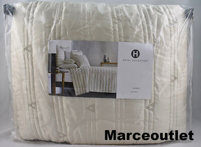Hotel Collection Gilded Geo QUEEN Quilted Coverlet Ivory