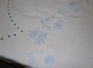 vintage round embroidered Linen table cloth
