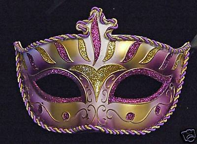 Wellington Purple & Gold Venetian Mardi Gras Mask - Wellington Halloween