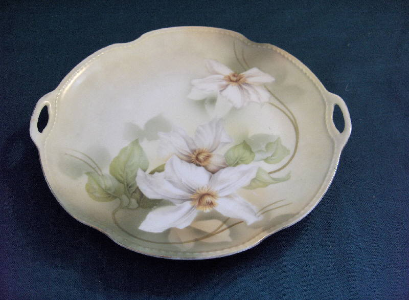 Vintage Antique Handled China Plate R.S. Germany Hand Painted White Flowers