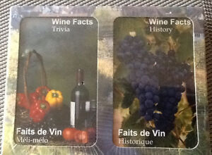 NEW 2 PACK French/English WINE TRIVIA PLAYING CARDS
