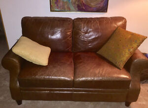 Real leather couch and loveseat