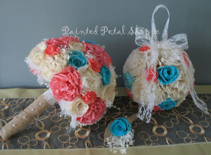 Coffee Filter Bridal Bouquet/Wedding Bouquet/ Coral & Teal