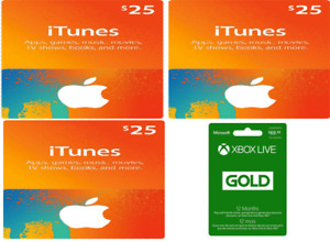 Xbox Live Membership and ITunes cards
