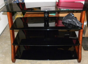 4 Tier Shelf WOOD &TEMPERED GLASS Television Stereo Game STAND