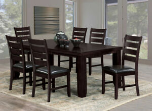 7pcs Solid wood dining table set with 6 chairs.