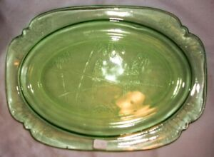 Green Depression Glass Parrot Serving Dish