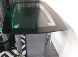 Black double glass dinning table