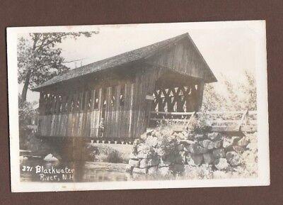 Kodak RPPC Postcard 371 Blackwater River N H Wooden Covered Bridge