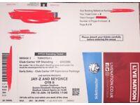 Jay z and Beyoncé on the run tour PREMIUM GA VIP CLUB CARTER Ticket Friday 15th June 2018