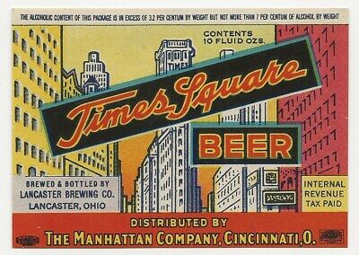 Lancaster Brewing Times Square Beer label IRTP OH