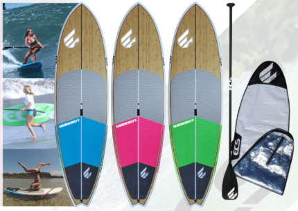 ECS Wide Boy Bamboo SUP Package (Board, Bag, Carb Paddle, Leggie)